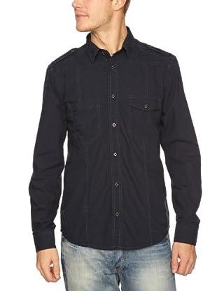 JACK & JONES Camisa Chris L/S (Negro/Azul)