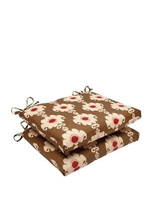 Waverly Sun-n-Shade Set of 2 Rise and Shine Henna Seat Cushion (Red/Brown/Tan)