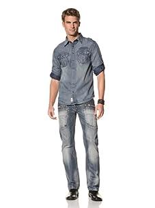 MOD Men's Long Sleeve Denim Shirt (Bleach Strip)