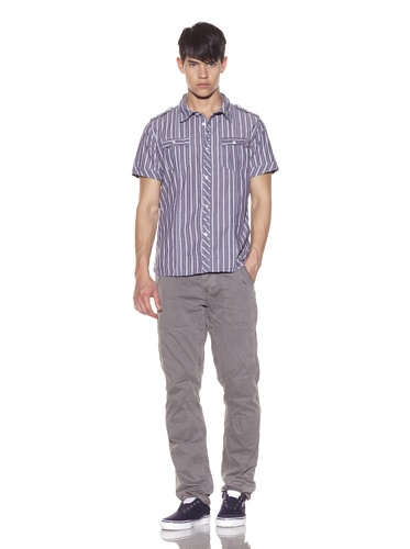 Rogue Men's Striped Button-Front Shirt (Baby Blue)