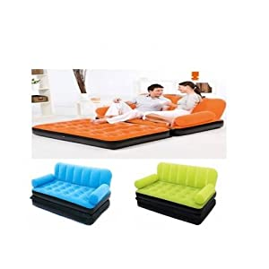 Coloured InflatableSofa cum Bed with Velvet/Flocked Top