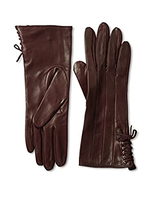 Portolano Women's Silk Lined Gloves with Laced Trim (Bordeaux)