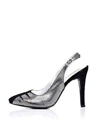 Ziya Zapatos de Talón Abierto Hebilla (Negro / Plateado)