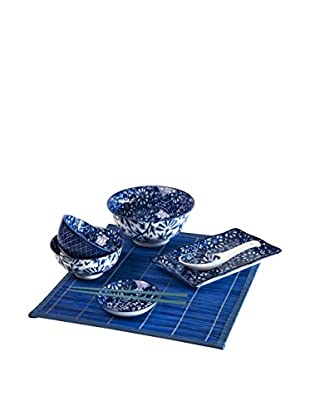Soul Kitchen Sushi Geschirr 7 tlg. Set Flowers blau
