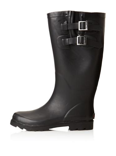 Chooka Women's Signature Solid Dual Buckle Rain Boot (Black)
