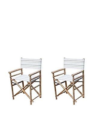 ZEW, Inc. Set of 2 Bamboo High Director Chairs, Navy