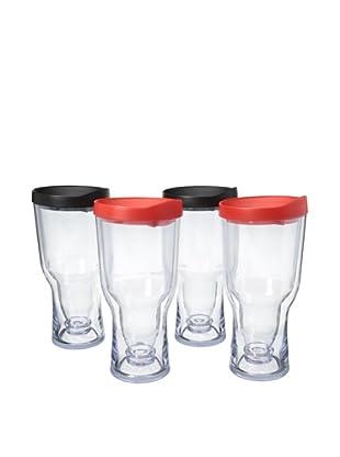 AdNArt Set of 4 Brew to Go (Red/Black)