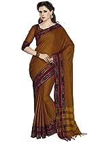 Aadarshini Women's Cotton Saree (110000000093, Light Brown)