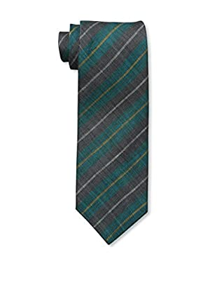 Rossovivo Men's Plaid Tie, Charcoal/Emerald