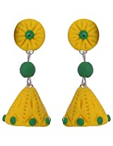 Nidarsha - Yellow and Green Polymer Clay Long jhumka