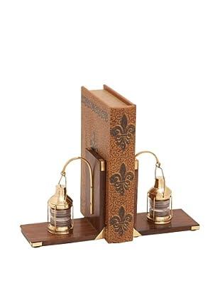 UMA Wooden Brass Lantern Bookends