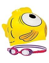 Speedo Junior Sea Set Squad Cap and Swimming Goggles (Yellow)