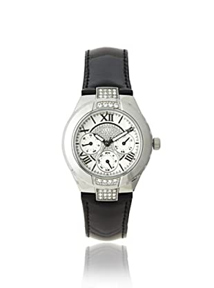 Guess Women's W10226L1 Classic Black/Silver Leather Watch