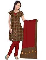 Kala Sanskruti Women Cotton Satin Bandhani Dark Brown Dress Material