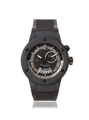 Salvatore Ferragamo Men's F55LGQ6877 S113 F-80 Black Carbon Fiber GMT Rubber Watch