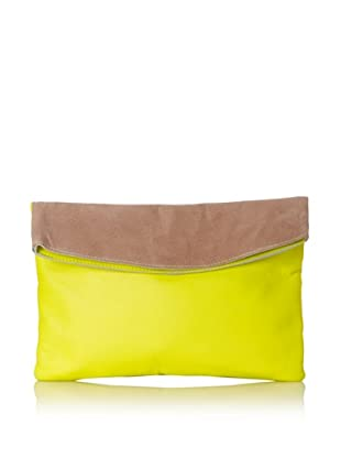 Gorjana Women's Colorblock Large Foldover Clutch (Neon Yellow/Taupe)