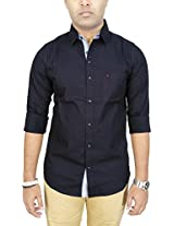 AA' Southbay Men's Black 100% Premium Cotton Oxford Long Sleeve Solid Casual Party Shirt