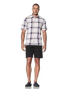 Report Collection Men's Large Scale Plaid Shirt (Tan)