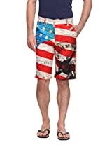Wear Your Mind Multi-Coloured Poly Cotton Buttoned Casual Wear Slim Fit Regular Shorts