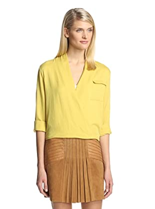 Beatrice B Women's Slouchy Faux Wrap Top (Chartreuse)