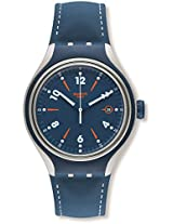 Swatch YES4000 Go Run Blue Leather Strap Watch