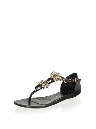 Lola Cruz Women's Jeweled Flat Sandal (Negro)