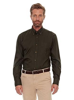 Cortefiel Camisa Liso (Verde Oscuro)