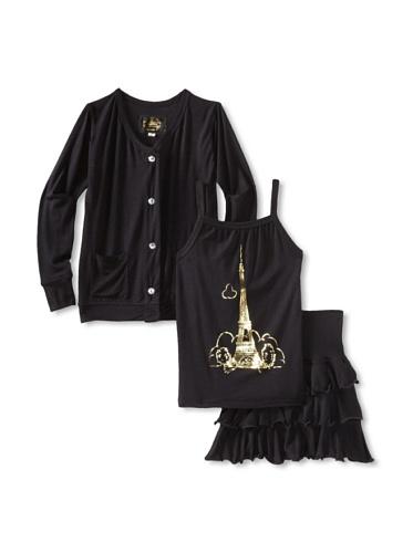 Ivy & Olivia Girl's Ruffle Skirt Cardigan and Cami 3-Piece Set (Black/Gold)