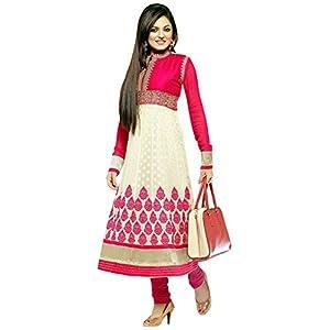 Drashti Dhami Pink & White Unstitched Anarkali Salwar Kameez Suit By WhiteMango.in