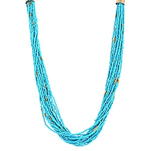 The Crazy Neck Turquoise Blue Beads Multi Layered Neck Piece. Necklace