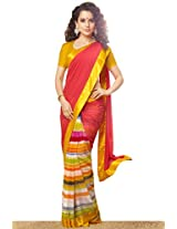 Amaranth Red and Pear Green Faux Georgette Printed Party Saree