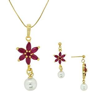 Spargz Floral Designe Pendant Studded AIPS 084 [Jewellery]