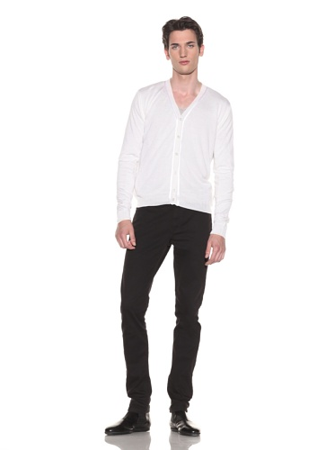 Halston Men's Contrast Trim Cardigan (White)