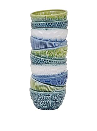 Tall Stacked Bowl Vase, White/Green/Blue
