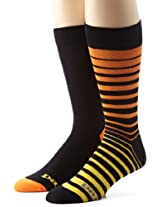 Papi Men's 2 Pack Rayon From Bamboo Ombre Stripe Socks, Orange, One Size