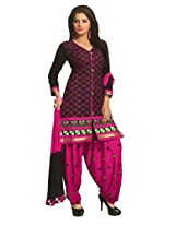 SGC Black & Pink Cotton Embroidery unstitched churidar Patiyala (NKT-5102)