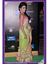 Shriya Saran Pastel Pink Color And Green Sari At Iifa Film Fare Awards