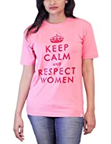 THESMO Women's Round Neck Cotton T-Shirt, Pink, L