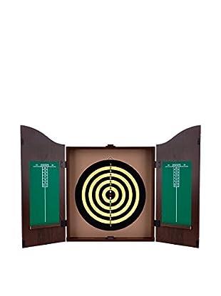 Dartboard Cabinet Set, Walnut Finish
