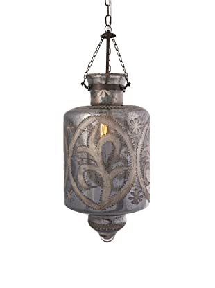 Badan Etched Glass Pendant Light, Smoky Blue