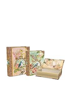 Punch Studio Set of 3 Large Nesting Book Boxes (Bird)