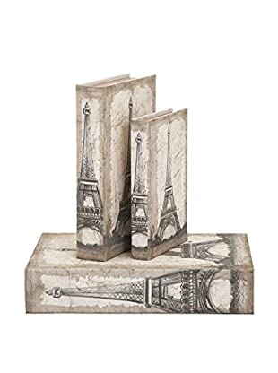 Set of 3 Eiffel Tower Travel Book Boxes