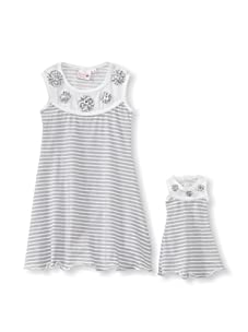 Me & Dolly by 4EverPrincess Girl's Sally Dress (Gray/White)