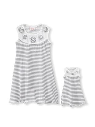 Me & Dolly by 4EverPrincess Girl's Sally Dress (Gray/White)