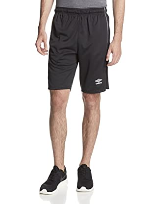 Umbro Men's Knit Active Short with Contrast Overlook (Mexico Black/White)
