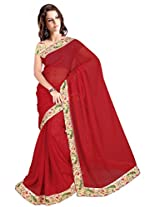 ISHIN Chiffon Red Solid Lace Saree With Printed Blouse