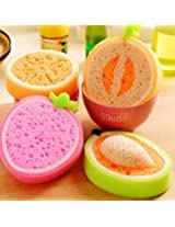 4Pcs Lovely Fruit Strong Decontamination Sponge Microfiber Washing Dishes Kitchen Tool