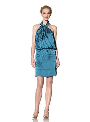 Philosophy di Alberta Ferretti Women's Satin Dress with Tie (Dark Teal)