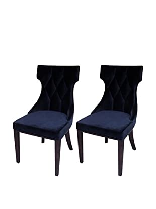 International Design USA Set of 2 Regis Velvet Dining Chairs, Black