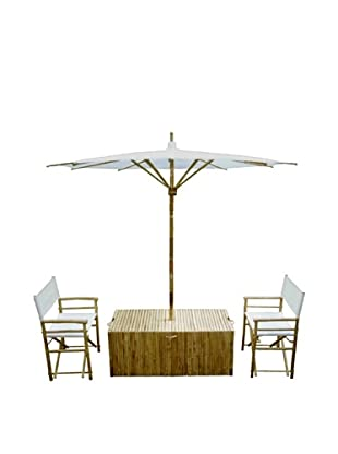 ZEW, Inc. Bamboo Conversations Set With Umbrella, Natural